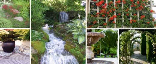 Landscape and home garden design collage